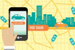 Rideshare or commuting mobile phone app concept